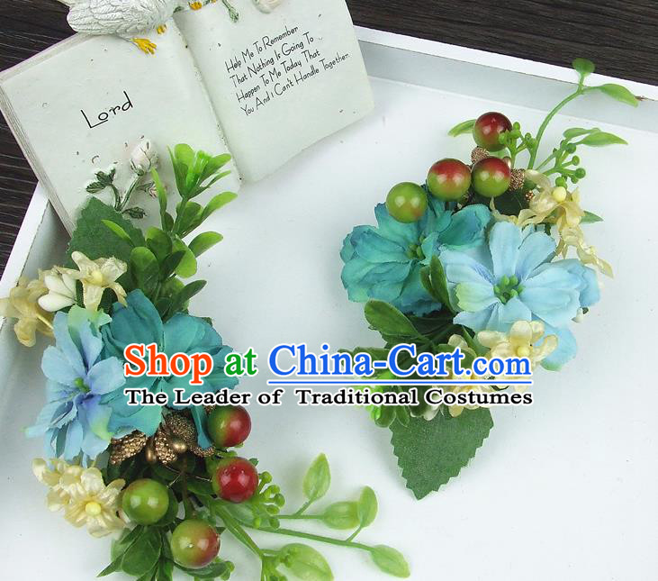Asian China Wedding Bride Hair Accessories Blue Flower Hair Stick Baroque Headwear for Women