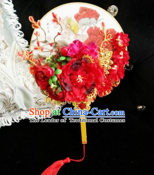 Traditional Handmade Chinese Ancient Wedding Butterfly Round Fans, Hanfu Palace Lady Bride Mandarin Fans for Women