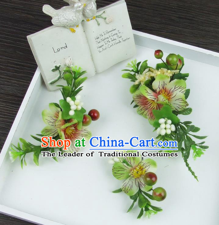 Asian China Wedding Bride Hair Accessories Pastoralism Green Flower Hair Stick Baroque Headwear for Women