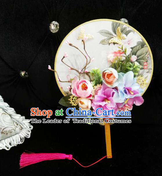 Traditional Handmade Chinese Ancient Wedding Round Fans, Hanfu Palace Lady Bride Purple Flowers Mandarin Fans for Women