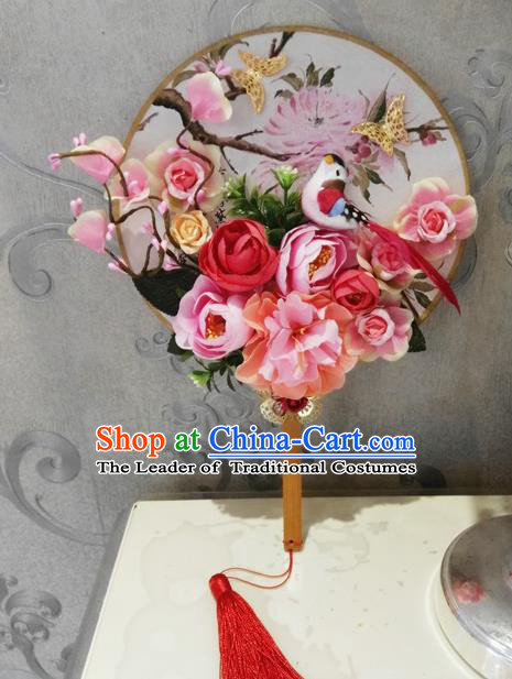 Traditional Handmade Chinese Ancient Wedding Round Fans, Hanfu Palace Lady Bride Pink Flowers Mandarin Fans for Women