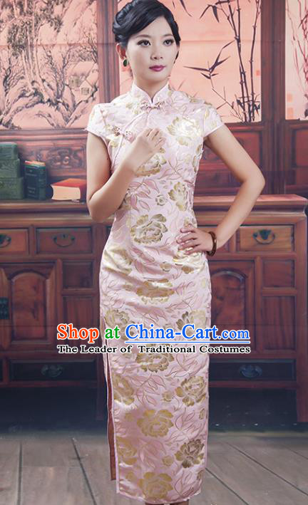 Traditional Ancient Chinese Republic of China Cheongsam Costume, Asian Chinese Pink Silk Long Chirpaur Clothing for Women