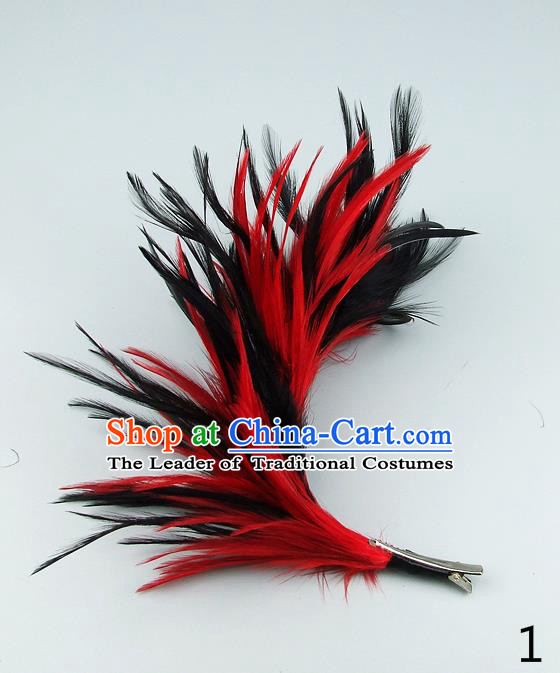 Top Grade Handmade Latin Dance Hair Accessories Red Feather Hair Claw, Baroque Style Wedding Bride Hair Stick for Women