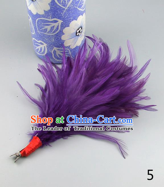 Top Grade Handmade Latin Dance Hair Accessories Purple Feather Hair Claw, Baroque Style Wedding Bride Hair Stick for Women