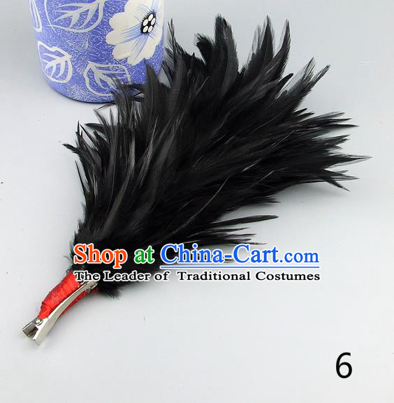 Top Grade Handmade Latin Dance Hair Accessories Black Feather Hair Claw, Baroque Style Wedding Bride Hair Stick for Women
