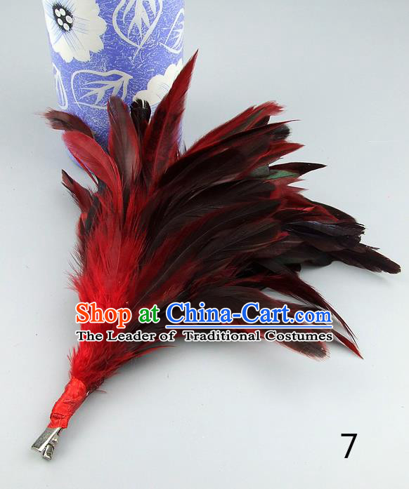 Top Grade Handmade Latin Dance Hair Accessories Red Black Feather Hair Claw, Baroque Style Wedding Bride Hair Stick for Women