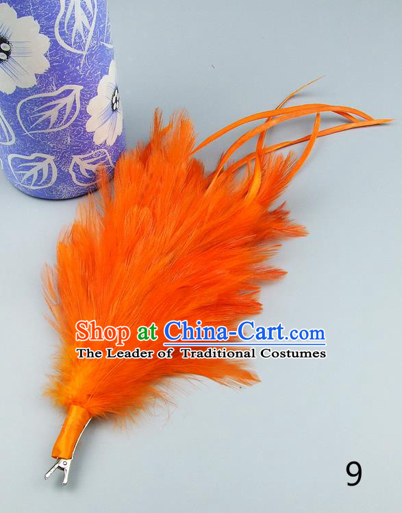 Top Grade Handmade Latin Dance Hair Accessories Orange Feather Hair Claw, Baroque Style Wedding Bride Hair Stick for Women