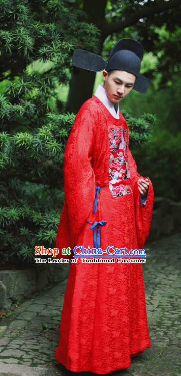 Traditional Chinese Ming Dynasty Emperor Wedding Embroidered Costume, Asian China Ancient Hanfu Bridegroom Clothing for Men