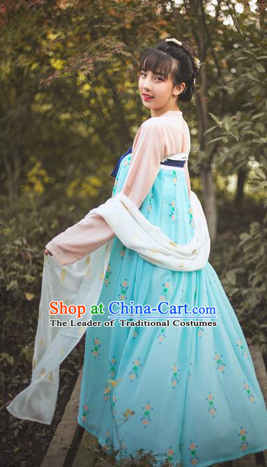 Traditional Chinese Tang Dynasty Princess Embroidered Costume, Asian China Ancient Hanfu Slip Skirt Clothing for Women