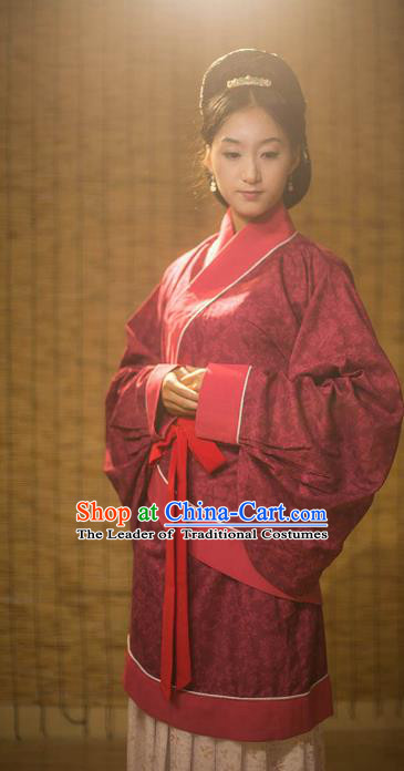 Traditional Chinese Han Dynasty Palace Lady Wedding Costume, Asian China Ancient Hanfu Red Curve Bottom Clothing for Women