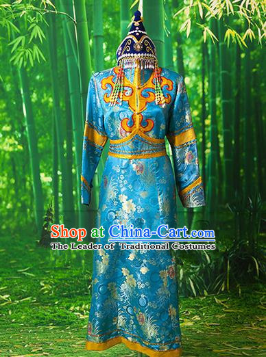 Traditional Chinese Mongol Nationality Dancing Costume, Mongols Female Folk Dance Robe Embroidery Clothing for Women