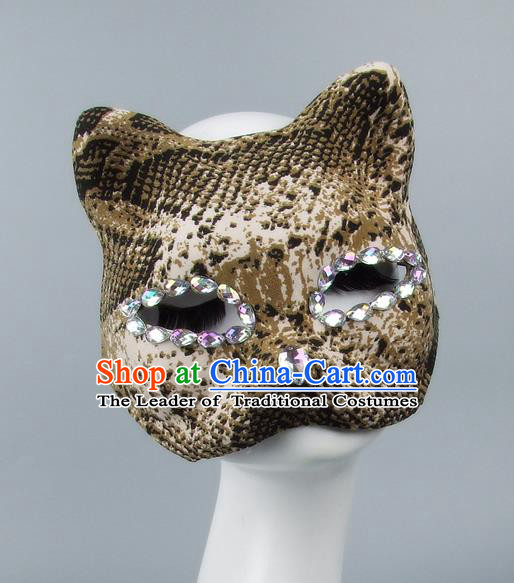 Handmade Exaggerate Fancy Ball Accessories Model Show Crystal Cat Mask, Halloween Ceremonial Occasions Face Mask