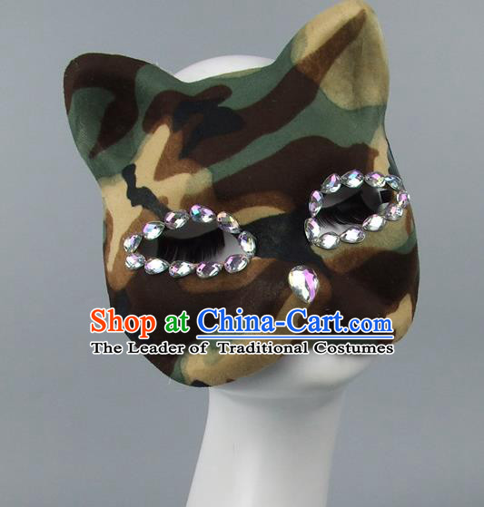 Handmade Exaggerate Fancy Ball Accessories Model Show Crystal Cat Green Mask, Halloween Ceremonial Occasions Face Mask