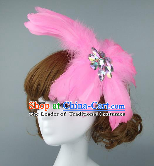 Top Grade Handmade Halloween Hair Accessories Model Show Pink Feather Hair Stick, Baroque Style Deluxe Headwear for Women