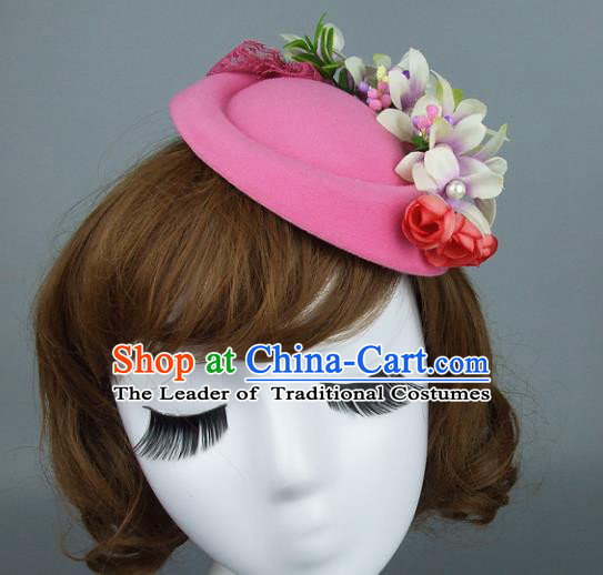 Top Grade Handmade Fancy Ball Hair Accessories Model Show Pink Top Hat, Baroque Style Deluxe Headwear for Women