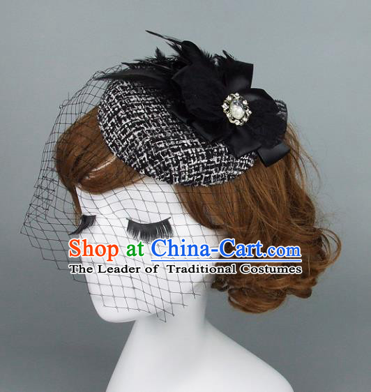 Top Grade Handmade Fancy Ball Hair Accessories Model Show Black Feather Top Hat, Baroque Style Deluxe Headwear for Women
