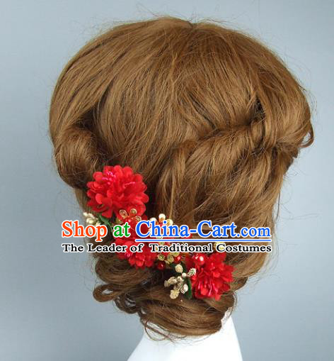 Top Grade Handmade Wedding Hair Accessories Red Flowers Hair Stick, Baroque Style Bride Headwear for Women