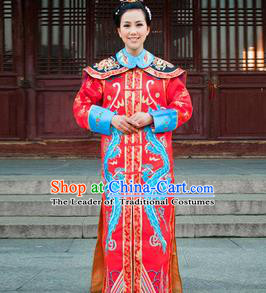 Traditional Ancient Chinese Manchu Palace Lady Costume, Asian Chinese Qing Dynasty Empress Dowager Dress Red Clothing for Women