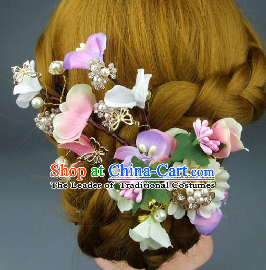 Top Grade Handmade Wedding Hair Accessories Pearls Silk Flowers Hair Stick, Baroque Style Bride Headwear for Women