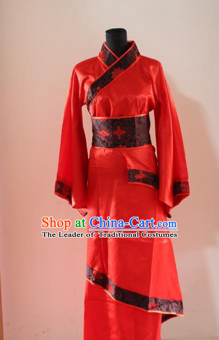 Traditional Ancient Chinese Princess Wedding Costume, Asian Chinese Han Dynasty Palace Lady Bride Red Dress Clothing for Women