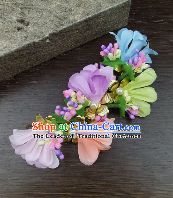 Top Grade Handmade Wedding Hair Accessories Colorful Headdress Silk Flowers Hair Stick, Baroque Style Bride Headwear for Women