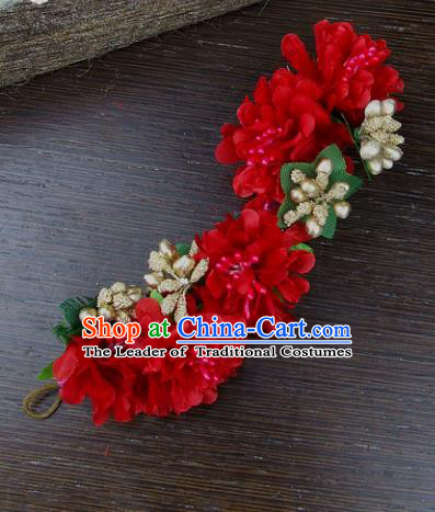 Top Grade Handmade Wedding Hair Accessories Red Flowers Hair Stick Headpiece, Baroque Style Bride Headwear for Women