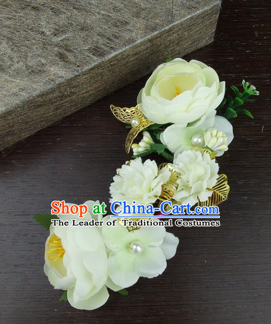 Top Grade Handmade Wedding Hair Accessories Beige Headdress Silk Flowers, Baroque Style Bride Headwear for Women
