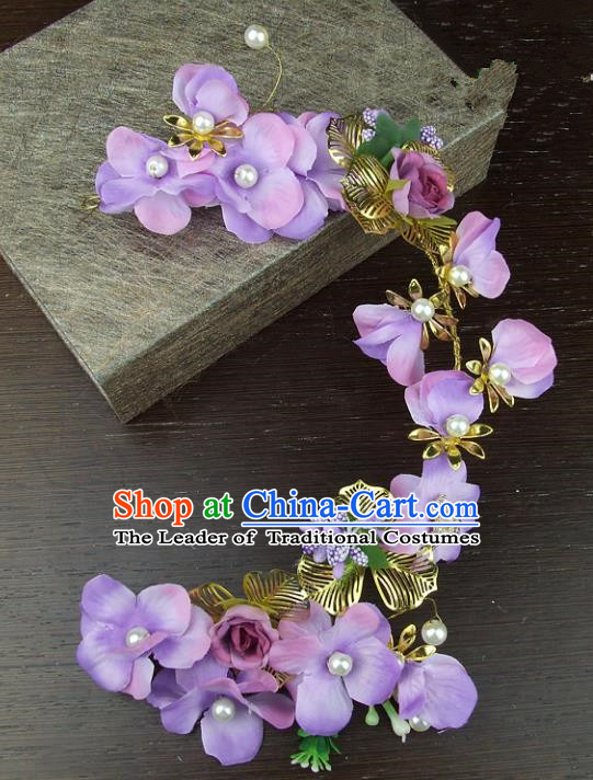 Top Grade Handmade Wedding Hair Accessories Purple Flowers Hair Stick Headpiece, Baroque Style Bride Headwear for Women
