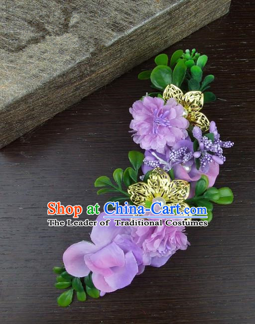 Top Grade Handmade Wedding Hair Accessories Purple Silk Flowers Hair Stick Headpiece, Baroque Style Bride Headwear for Women