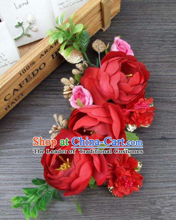 Top Grade Handmade Wedding Hair Accessories Red Silk Rose Flowers Hair Stick Headpiece, Baroque Style Bride Headwear for Women
