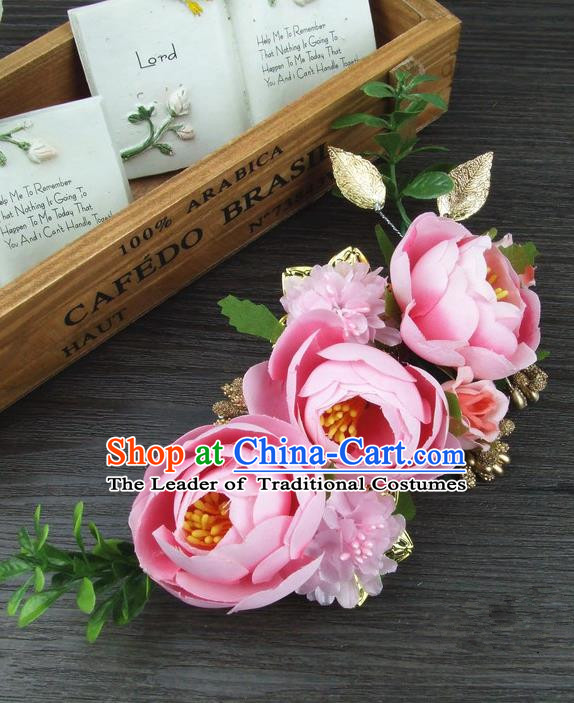 Top Grade Handmade Wedding Hair Accessories Pink Silk Rose Flowers Hair Stick Headpiece, Baroque Style Bride Headwear for Women
