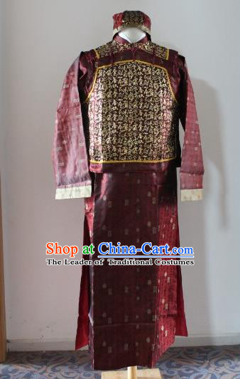 Traditional Ancient Chinese Manchu Royal Highness Mandarin Jacket Costume, Asian Chinese Qing Dynasty Emperor Purple Clothing for Men