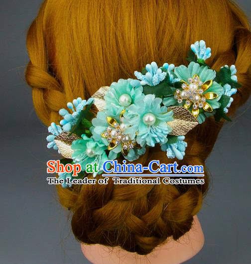 Top Grade Handmade Wedding Hair Accessories Green Silk Flowers Pearls Hair Stick, Baroque Style Bride Headwear for Women