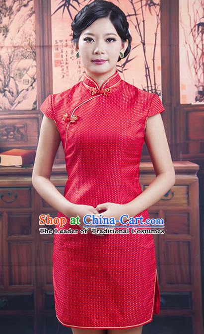 Traditional Chinese National Costume Tang Suit Short Red Qipao, China Ancient Cheongsam Printing Chirpaur Dress for Women