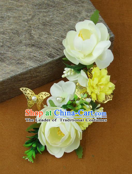 Top Grade Handmade Wedding Hair Accessories Yellow Silk Flowers Butterfly Hair Stick, Baroque Style Bride Headwear for Women
