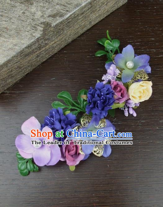 Top Grade Handmade Wedding Hair Accessories Purple Silk Flowers Hair Stick, Baroque Style Bride Headwear for Women