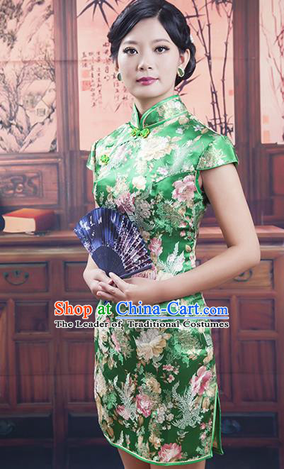Traditional Chinese National Costume Tang Suit Short Green Silk Qipao, China Ancient Cheongsam Printing Chirpaur Dress for Women