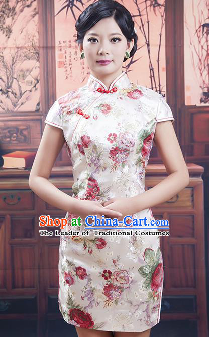 Traditional Chinese National Costume Tang Suit Short White Silk Qipao, China Ancient Cheongsam Printing Chirpaur Dress for Women