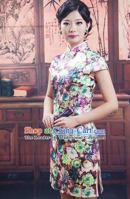 Traditional Chinese National Costume Tang Suit Short Silk Qipao, China Ancient Cheongsam Printing Chirpaur Dress for Women