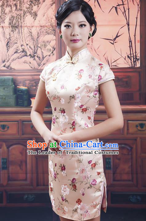 Traditional Chinese National Costume Tang Suit Short Pink Silk Qipao, China Ancient Cheongsam Printing Chirpaur Dress for Women