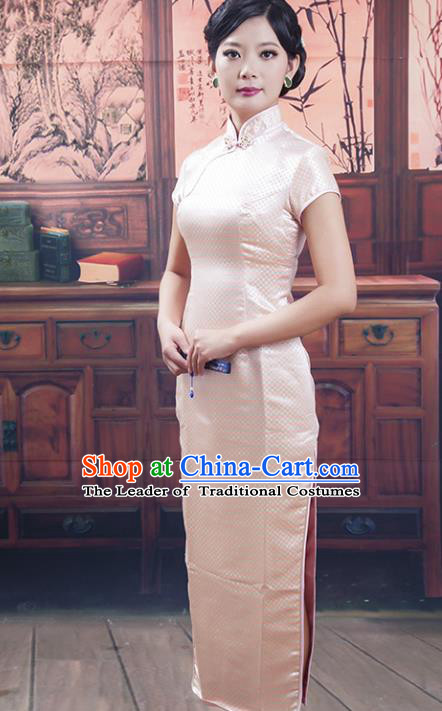 Traditional Chinese National Costume Tang Suit Pink Silk Long Qipao, China Ancient Cheongsam Printing Chirpaur Dress for Women