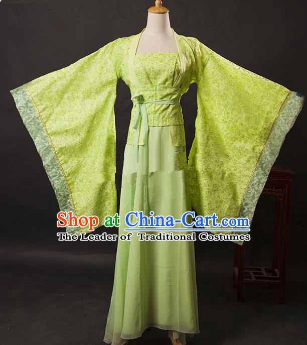 Asian China Ancient Tang Dynasty Palace Lady Costume, Traditional Chinese Hanfu Embroidered Green Dress Clothing for Women