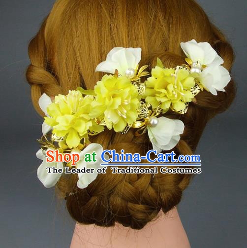 Top Grade Handmade Wedding Hair Accessories Yellow Headdress Silk Flowers, Baroque Style Bride Pearls Headwear for Women