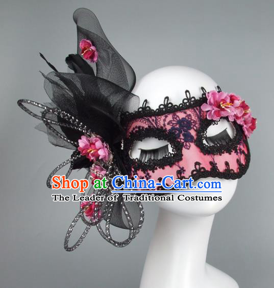 Top Grade Handmade Exaggerate Fancy Ball Accessories Model Show Feather Lace Mask, Halloween Ceremonial Occasions Face Mask