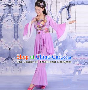 Traditional Ancient Chinese Palace Lady Dance Costume, Asian Chinese Tang Dynasty Imperial Consort Purple Dress Clothing for Women