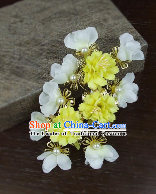 Top Grade Handmade Wedding Hair Accessories Headdress Yellow Silk Flowers, Baroque Style Bride Pearls Headwear for Women