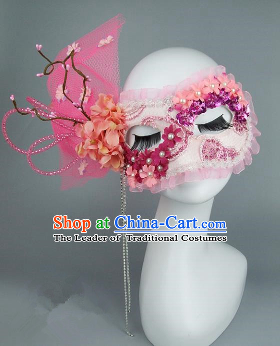 Top Grade Handmade Exaggerate Fancy Ball Accessories Model Show Pink Veil Bowknot Mask, Halloween Ceremonial Occasions Face Mask