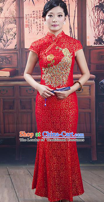 Traditional Chinese National Costume Red Wedding Qipao, China Ancient Cheongsam Phoenix Chirpaur Dress for Women