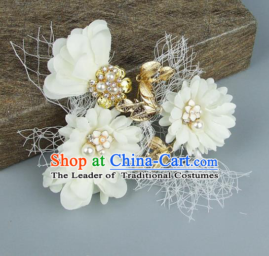 Top Grade Handmade Wedding Hair Accessories White Flowers Headdress, Baroque Style Bride Headwear for Women