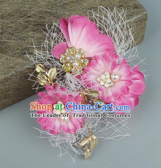 Top Grade Handmade Wedding Hair Accessories Pink Flowers Headdress, Baroque Style Bride Headwear for Women